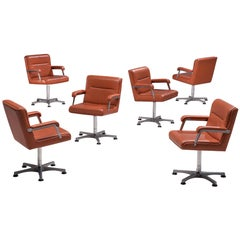 Six Norwegian Office Chairs in Terracotta Leather