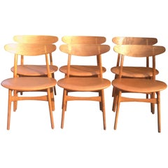 Six Oak and Leather CH30 Dining Chairs by Hans J Wegner for Carl hansen & Son