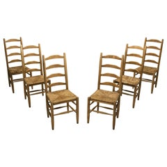 Six Oak and Straw Rustic Dining Chairs, The Netherlands, 1950s