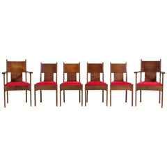 Six Oak Art Deco Haagse School Chairs by L.O.V. Oosterbeek, 1920s
