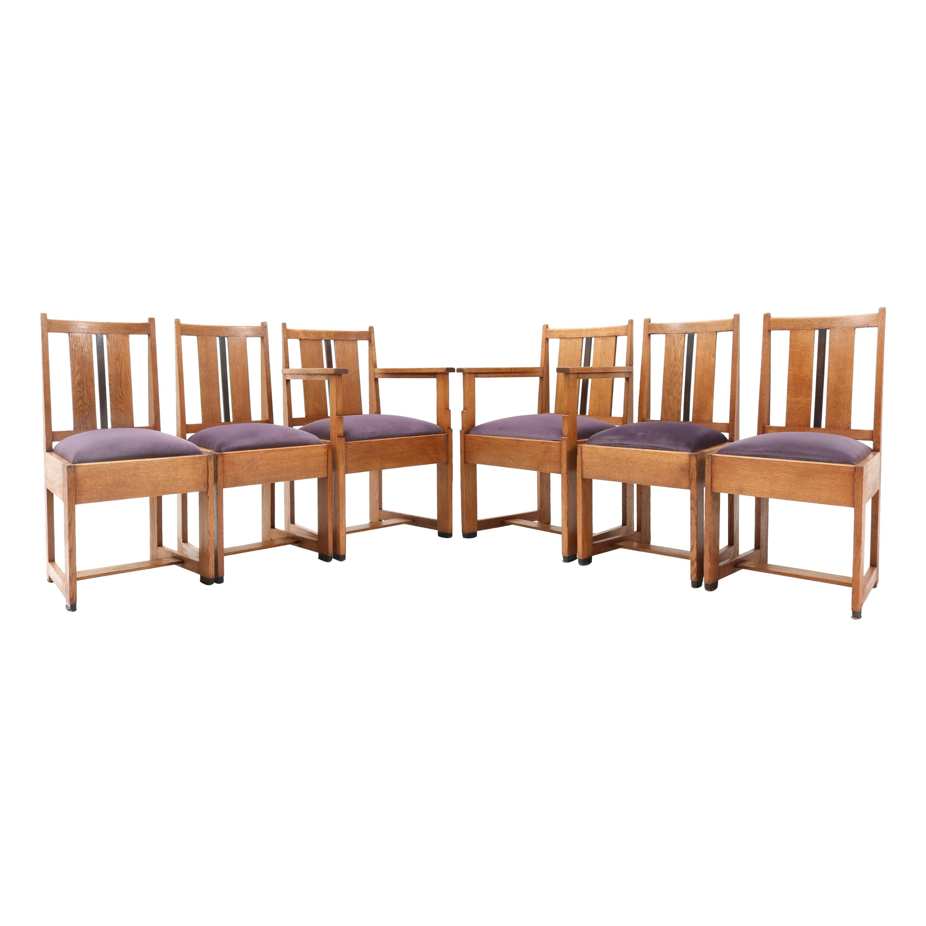 Six Oak Art Deco Haagse School Dining Room Chairs, 1920s