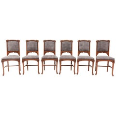 Six Oak French Art Nouveau Chairs Attributed to Jacques Gruber, 1900s