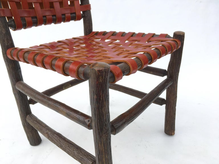 Six Old Hickory Dining Chairs With Woven Cognac Saddle
