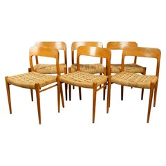 Six Original 1960s Niels O. Møller Model 75 Oak Chairs with Cord Plaiting Seats