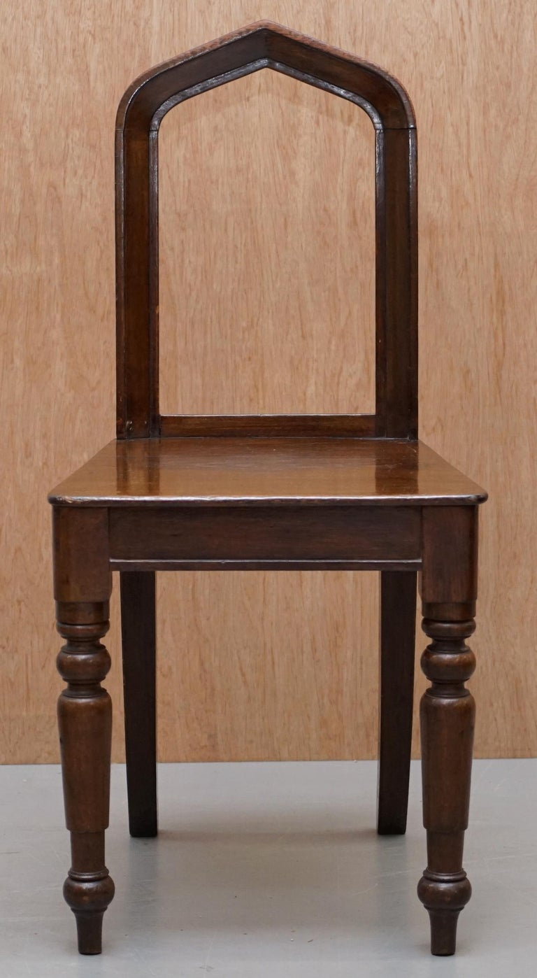 Gothic Revival Six Original Victorian circa 1890 Steeple Back Gothic Arch Oak Dining Chairs 6 For Sale