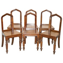 Six Original Victorian circa 1890 Steeple Back Gothic Arch Oak Dining Chairs 6