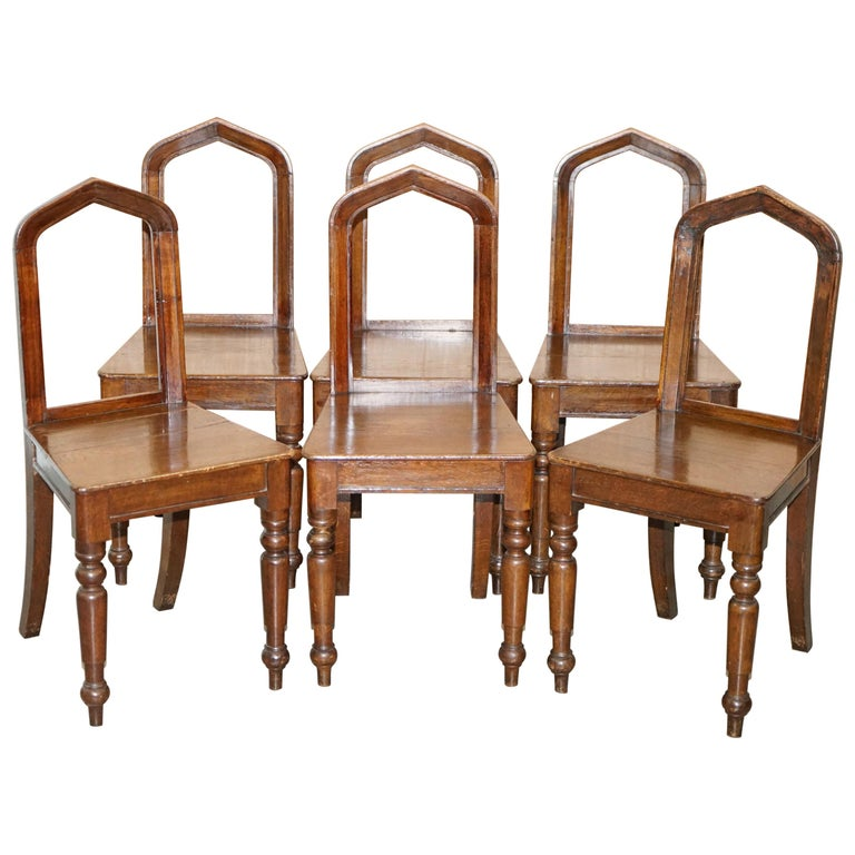 Six Original Victorian circa 1890 Steeple Back Gothic Arch Oak Dining Chairs 6 For Sale