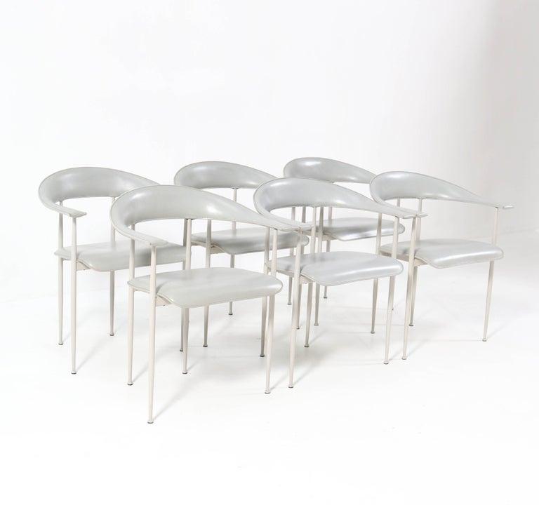 Italian Six P40 Armchairs by Giancarlo Vegni and Gualtierotti for Fasem, Italy, 1980s For Sale