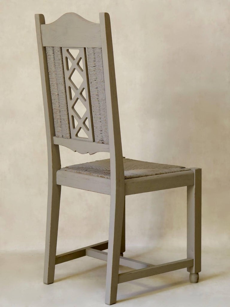 French Six Painted Oak and Rush Dining Chairs, circa 1940s For Sale