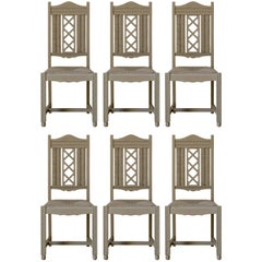 Six Painted Oak and Rush Dining Chairs, circa 1940s