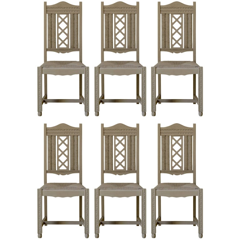 Six Painted Oak and Rush Dining Chairs, circa 1940s For Sale