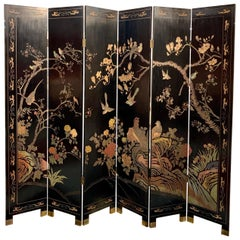 Six Panel Chinoiserie Lacquered Coromandel Screen Double Sided Carved Designs
