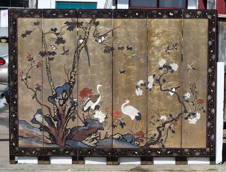 Chinoiserie Six Panel Coromandel Chinese Dressing Screen / Room Divider For Sale