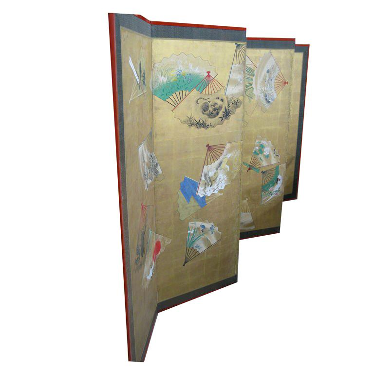 Six panel fan-motifs screen panel (Japan)