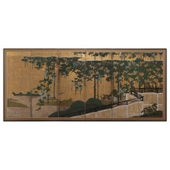 Six-Panel Folding Screen with Grapevine, Kanō School