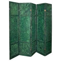 Six Panel Hand Painted Faux Malachite Screen
