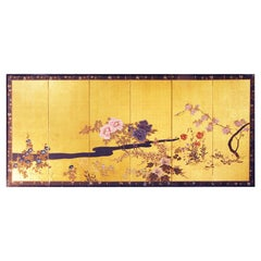 Six Panel Japanese Screen with Summer Flowers