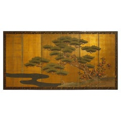 Six Panel Japanese Vintage Folding Byobu Screen