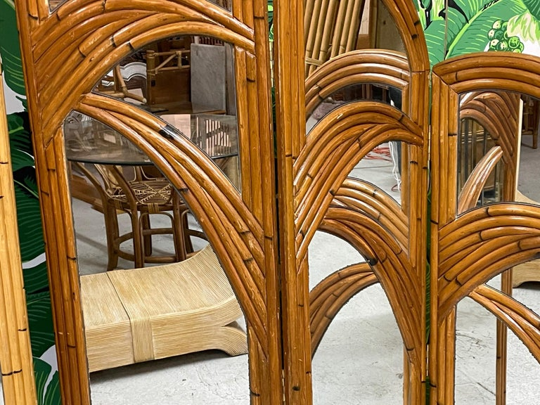 Six-Panel Split Reed Rattan Mirrored Palm Tree Folding Screen In Good Condition For Sale In Jacksonville, FL