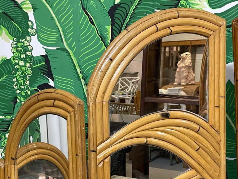 Late 20th Century Six-Panel Split Reed Rattan Mirrored Palm Tree Folding Screen For Sale