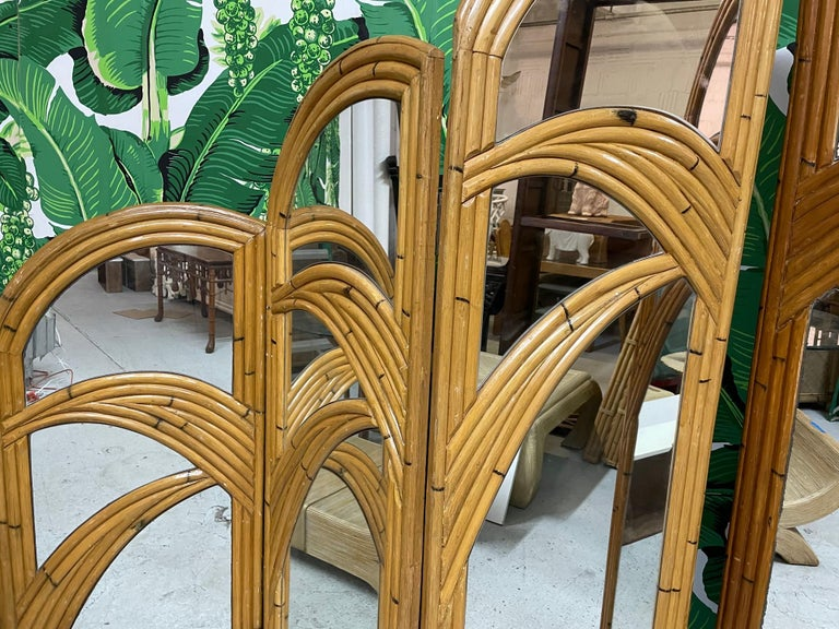 Six-Panel Split Reed Rattan Mirrored Palm Tree Folding Screen For Sale 3