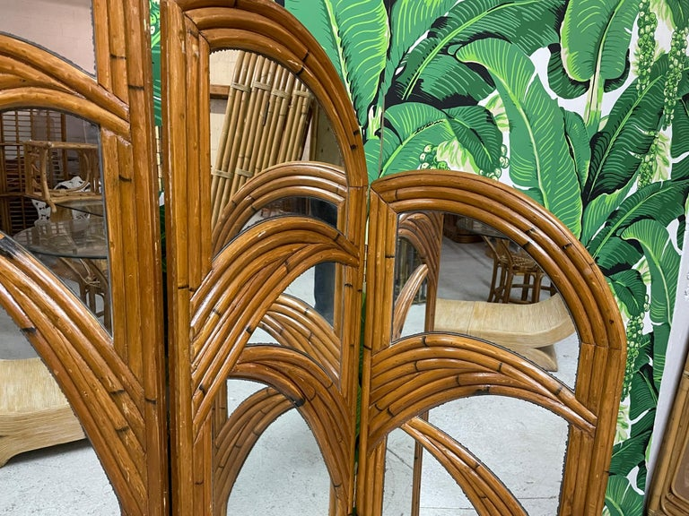 Six-Panel Split Reed Rattan Mirrored Palm Tree Folding Screen For Sale 4