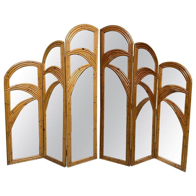 Six-Panel Split Reed Rattan Mirrored Palm Tree Folding Screen For Sale
