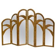 Six Panel Split Reed Rattan Mirrored Palm Tree Folding Screen Room Divider