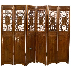 Six Panel Teak Asian 18th-19th Century Folding Screen / Room Divider