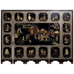 Six Panels of Chinese Lacquer, circa 100 Years Old