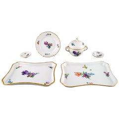 Six Parts Royal Copenhagen Light Saxon Flower in Hand Painted Porcelain