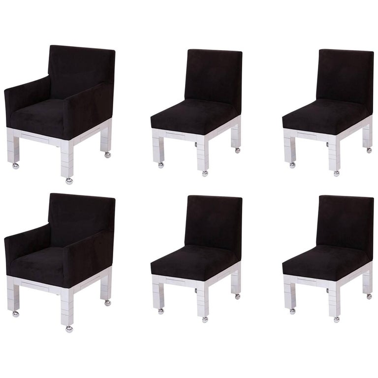 Six Paul Evans 'Cityscape' Dining Chairs For Sale
