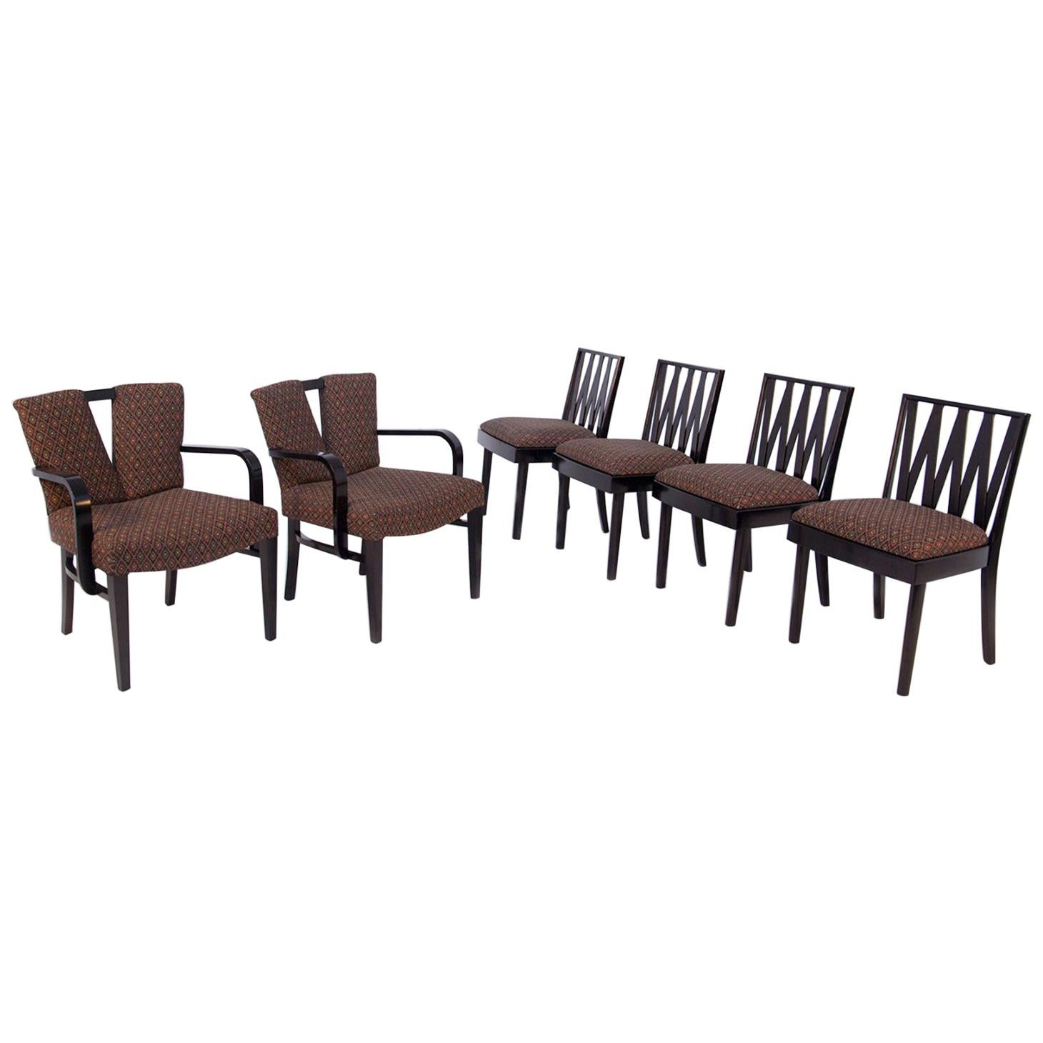 """Six Paul Frankl """"Corset"""" and """"Zig Zag"""" Chairs for Johnson Furniture"""
