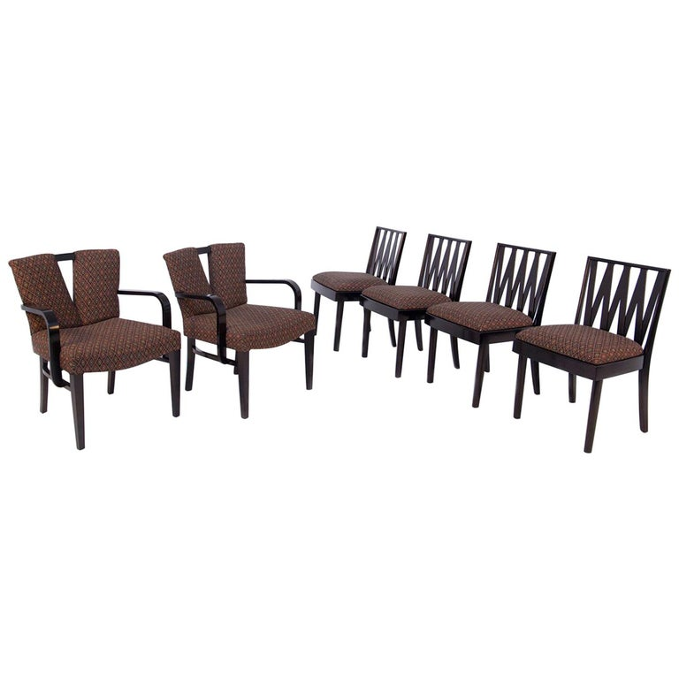 """Six Paul Frankl """"Corset"""" and """"Zig Zag"""" Chairs for Johnson Furniture For Sale"""