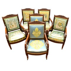 Six Period French Empire Open Armchairs in Mahogany by Jean-Pierre Louis