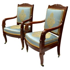 Pair of French Empire Mahogany Armchairs Attributed to Jean-Pierre Louis