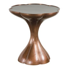 Six Petal Side Table with Black Lacquer Top by Robert Kuo, Handmade