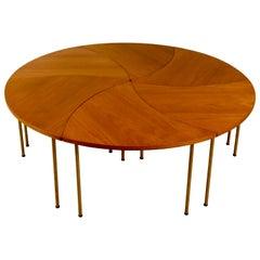 Six Peter Hvidt Teak and Brass Model 523 Tables