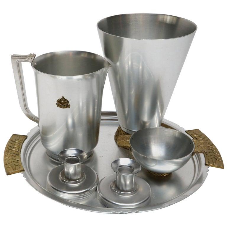 Six-Piece Kensington Aluminium and Brass Table Accessories For Sale
