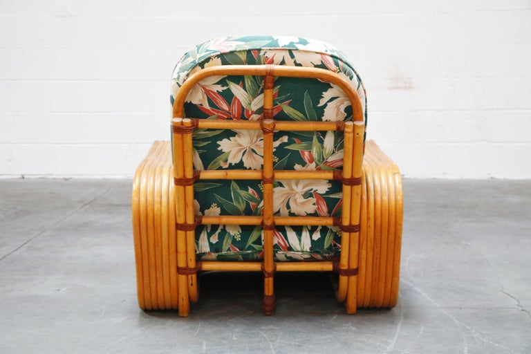 Six-Piece Paul Frankl Style Pretzel Rattan Living Room Patio Set, circa 1940s 6
