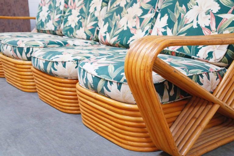 Six-Piece Paul Frankl Style Pretzel Rattan Living Room Patio Set, circa 1940s For Sale 8