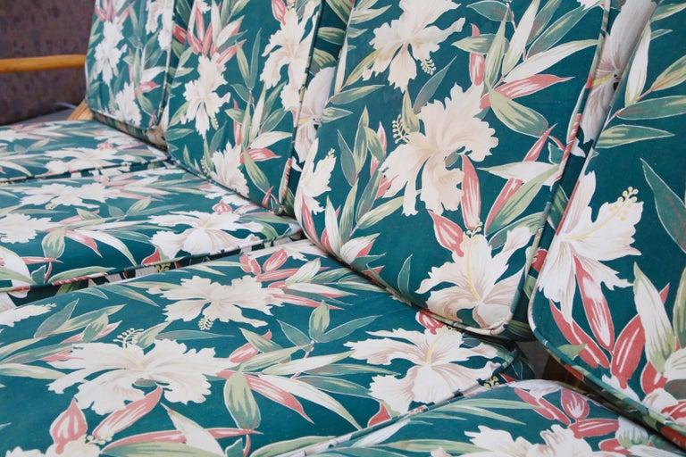 Six-Piece Paul Frankl Style Pretzel Rattan Living Room Patio Set, circa 1940s For Sale 9