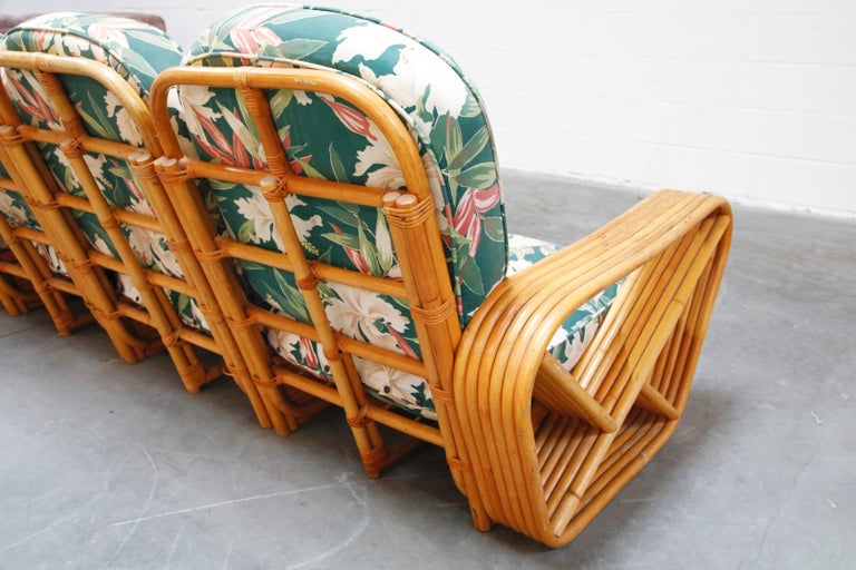 Six-Piece Paul Frankl Style Pretzel Rattan Living Room Patio Set, circa 1940s 10