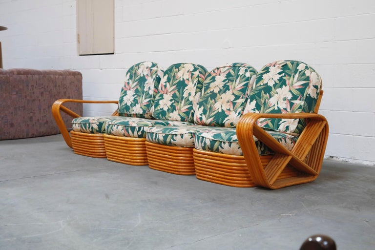 Six-Piece Paul Frankl Style Pretzel Rattan Living Room Patio Set, circa 1940s In Good Condition For Sale In Los Angeles, CA