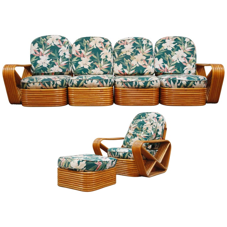 Six-Piece Paul Frankl Style Pretzel Rattan Living Room Patio Set, circa 1940s