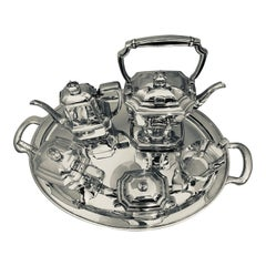 Six-Piece Tiffany & Co. Sterling Silver Kettle on Cradle W Serving Tray 7.3 Kg