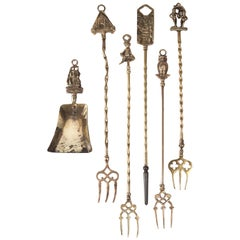 Six-Piece Vintage Brass Fireplace Tools and Toasting Forks, England, circa 1920s