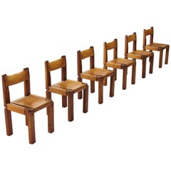 Six Pierre Chapo S11 Chairs in Solid Elm and Cognac Leather, France, 1966