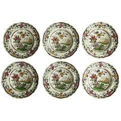 SIX Pottery Soup Bowls or Plates by Zachariah Boyle Chinese Flora Pattern