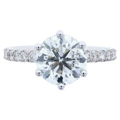 Six Prong Classic Engagement Ring with Diamond Pave with Round Center